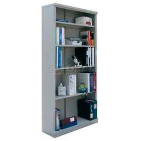 """Steel Bookcase 5 Shelves 34-1/2""""W x 13""""D x 72""""H Easy Assembly Dove Gray"""
