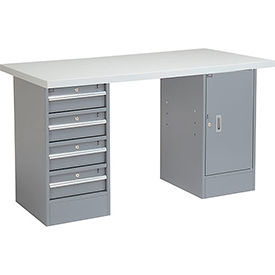 "72"" W x 24"" D Pedestal Workbench W/ 4 Drawers & 1 Cabinet, Plastic Laminate Square Edge - Gray"