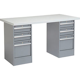 "60"" W x 24"" D Pedestal Workbench W/ Double 3 Drawers, Plastic Laminate Square Edge - Gray"