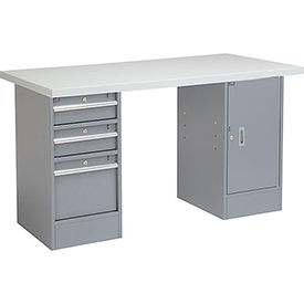 "60"" W x 24"" D Pedestal Workbench W/ 3 Drawers & 1 Cabinet, Plastic Laminate Square Edge - Gray"