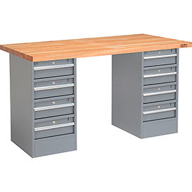 "60"" W x 24"" D Pedestal Workbench W/ Double 4 Drawers, Maple Butcher Block Square Edge - Gray"