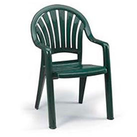 Grosfillex® Fanback Stacking Outdoor Armchair - Green - Pkg Qty 16