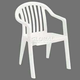 Grosfillex® Resin Lowback Stacking Outdoor Armchair - White (Sold in Pk. Qty 16) - Pkg Qty 16
