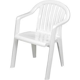 Grosfillex® Resin Lowback Stacking Outdoor Armchair - White - Pkg Qty 4