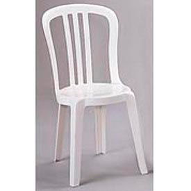 Grosfillex® Miami Bistro Resin Stacking Outdoor Sidechair White (Sold in Pk. Qty 32) - Pkg Qty 32