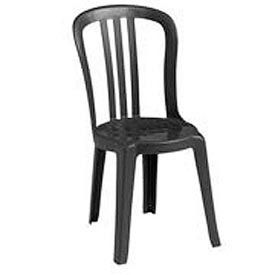 Grosfillex® Miami Bistro Resin Stacking Outdoor Sidechair Black (Sold in Pk. Qty 32) - Pkg Qty 32
