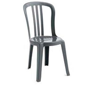 Grosfillex® Miami Bistro Resin Stacking Outdoor Sidechair Charcoal (Sold in Pk. Qty 4) - Pkg Qty 4