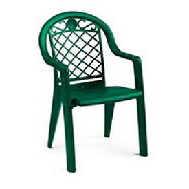 Grosfillex® Savannah Highback Stacking Outdoor Armchair Metallic - Green (Sold in Pk. Qty 4) - Pkg Qty 4