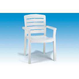 Grosfillex® Stacking Dining Outdoor Armchair Woodgrained - White (Sold in Pk. Qty 12) - Pkg Qty 12