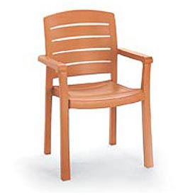 Grosfillex® Stacking Dining Outdoor Armchair Woodgrained - Teak (Sold in Pk. Qty 4) - Pkg Qty 4