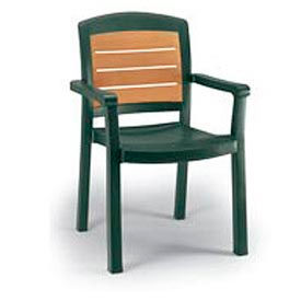 Grosfillex® Aquaba Stacking Dining Armchair 2-Tone Woodgrained - Green (Sold in Pk. Qty 12) - Pkg Qty 12