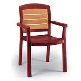 Grosfillex® Aquaba Stacking Dining Armchair 2-Tone Woodgrained - Burgundy (Sold in Pk. Qty 4) - Pkg Qty 4