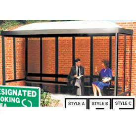 """Smoking Shelter Dome Roof Three Sided With Open Front 15' X 7'6"""""""