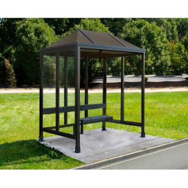 """Smoking Shelter Vented Poly-Hip Roof Three Sided With Open Front 7'6"""" X 5'"""