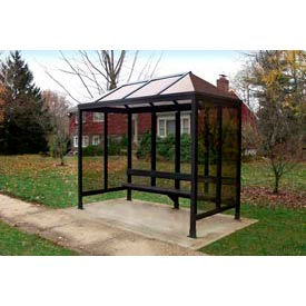 Smoking Shelter Vented Poly-Hip Roof Three Sided With Open Front 12' X 5'