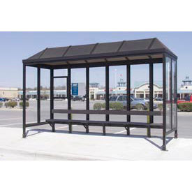 """Smoking Shelter Vented Poly-Hip Roof Three Sided With Open Front 15' X 7'6"""""""