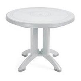"Grosfillex® Vega 38"" Round Outdoor Folding Tables White (Bulk Rate) - Pkg Qty 14"