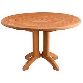 "Grosfillex® 48"" Round Outdoor Tables Woodgrained Teak"