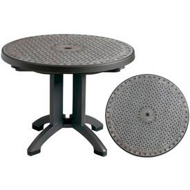 "Grosfillex® Toledo 38"" Round Outdoor Folding Table - Chain Link Design"