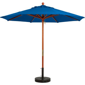 Grosfillex® 7' Wooden Market Outdoor Umbrella, Blue