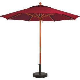 Grosfillex® 7' Wooden Market Outdoor Umbrella, Burgundy
