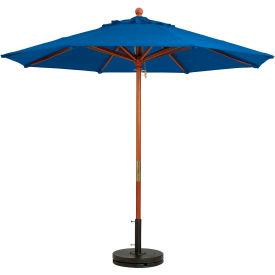 Grosfillex® 9' Wooden Market Outdoor Umbrella, Blue