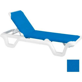 Grosfillex® Marina Adjustable Sling Chaise - Blue/White - Pkg Qty 2