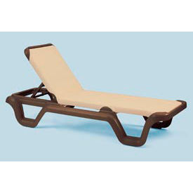 Grosfillex® Marina Adjustable Sling Chaise - Khaki/Bronze (Sold in Pk. Qty 2) - Pkg Qty 2
