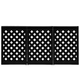Grosfillex Portable Resin Outdoor Patio Fence, 3 Panel Section   Black