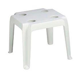Grosfillex® Outdoor End Table With Cup Holders - White - Pkg Qty 14