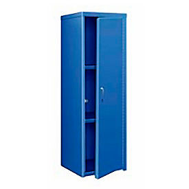 Heavy Duty Extra Wide Welded Steel Locker Single Tier 24x24x74 1 Door Blue