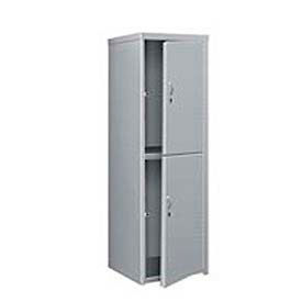 Pucel Heavy Duty Extra Wide Welded Steel Locker Double Tier 24x24x74 2 Door Gray