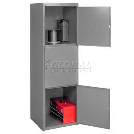 Heavy Duty Extra Wide Welded Steel Locker Triple Tier 24x24x74 3 Door Gray