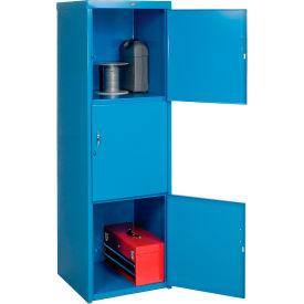 Heavy Duty Extra Wide Welded Steel Locker Triple Tier 24x24x74 3 Door Blue