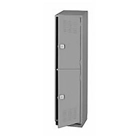Pucel Heavy Duty Extra Wide Welded Steel Locker Double Tier 18x18x75 2 Door Gray