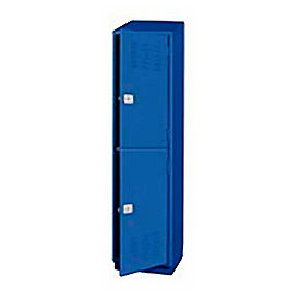 Pucel Heavy Duty Extra Wide Welded Steel Locker Double Tier 18x18x75 2 Door Blue