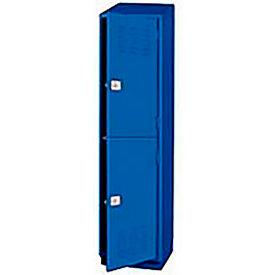 Pucel Heavy Duty Extra Wide Welded Steel Locker Double Tier 18x18x75 2 Door Blue