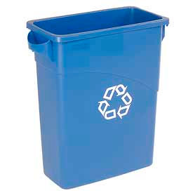 16 Gallon Rubbermaid Recycling Slim Container - Blue