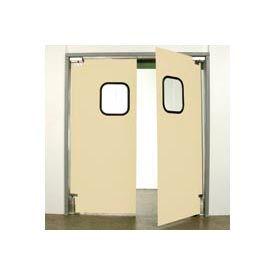 """Aleco® 6'0"""" x 8'0"""" Twin Panel Light Duty Beige Impact Door 431099"""