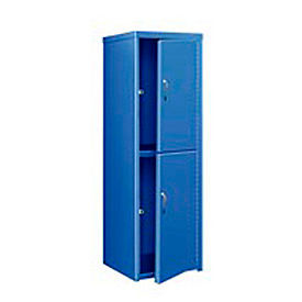 Pucel Heavy Duty Extra Wide Welded Steel Locker Double Tier 24x24x74 2 Door Blue