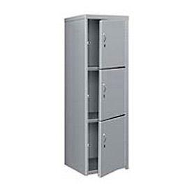 Pucel Heavy Duty Extra Wide Welded Steel Locker Triple Tier 24x24x74 3 Door Gray