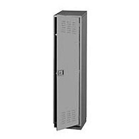 Heavy Duty Extra Wide Welded Steel Locker Single Tier 18x18x75 1 Door Gray