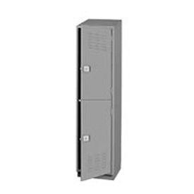 Pucel Heavy Duty Extra Wide Welded Steel Locker Double Tier 18x18x75 2 Door Gray