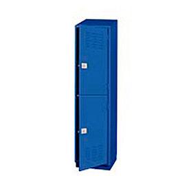 Heavy Duty Extra Wide Welded Steel Locker Double Tier 18x18x75 2 Door Blue