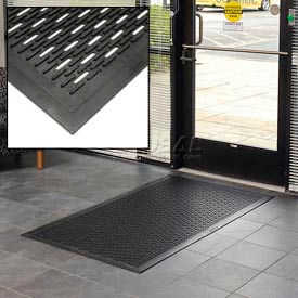 "Upfront Scraper Slotted Entrance Mat 5/16"" Thick Black 36x60"