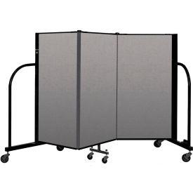 """Screenflex Portable Room Divider 3 Panel, 4'H x 5'9""""L, Vinyl Color: Gray"""