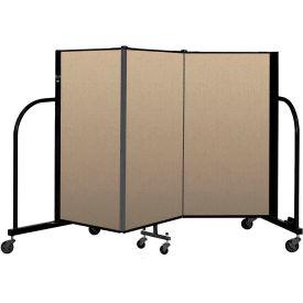 """Screenflex Portable Room Divider 3 Panel, 4'H x 5'9""""L, Vinyl Color: Oatmeal"""