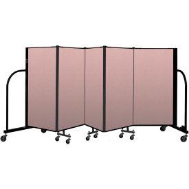 """Screenflex Portable Room Divider 5 Panel, 4'H x 9'5""""L, Vinyl Color: Mauve"""