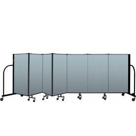 "Screenflex Portable Room Divider 7 Panel, 4'H x 13'1""L, Vinyl Color: Blue"