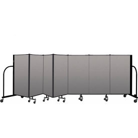 """Screenflex Portable Room Divider 7 Panel, 4'H x 13'1""""L, Vinyl Color: Gray"""